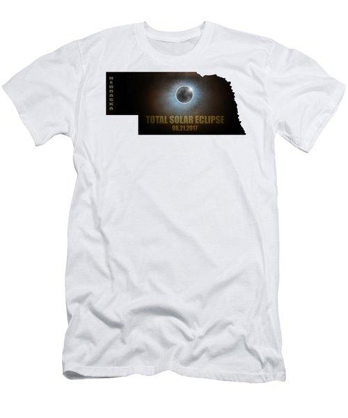 Total Solar Eclipse In Nebraska Map Outline Men's T-Shirt (Athletic Fit)