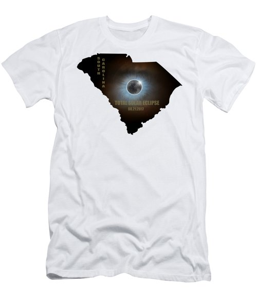 Total Solar Eclipse In South Carolina Map Outline Men's T-Shirt (Athletic Fit)