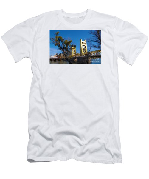 Men's T-Shirt (Slim Fit) featuring the photograph Tower Bridge Old Sacramento by Debra Thompson