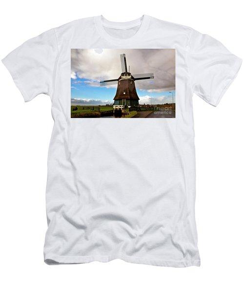 Men's T-Shirt (Athletic Fit) featuring the photograph Traditional Dutch Windmill Near Volendam  by Silva Wischeropp