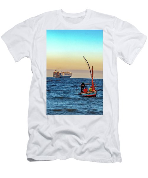 Traditional Fishing And The Container Ship Men's T-Shirt (Athletic Fit)