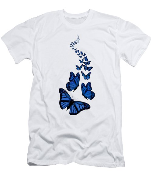 Trail Of The Blue Butterflies Transparent Background Men's T-Shirt (Athletic Fit)