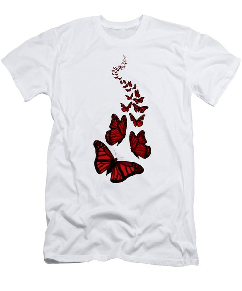 Trail Of The Red Butterflies Transparent Background  Men's T-Shirt (Athletic Fit)