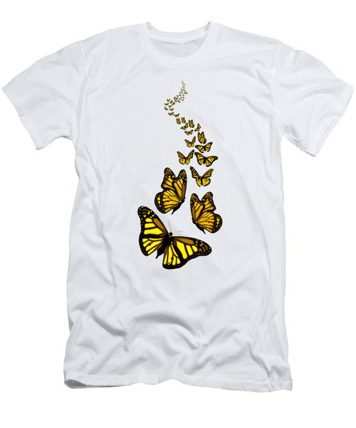 Trail Of The Yellow Butterflies Transparent Background Men's T-Shirt (Athletic Fit)