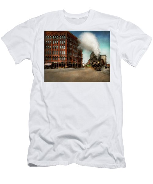 Men's T-Shirt (Slim Fit) featuring the photograph Train - Respect The Train 1905 by Mike Savad