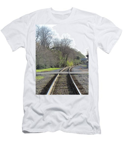 Men's T-Shirt (Athletic Fit) featuring the photograph Trax Bend by Aaron Martens