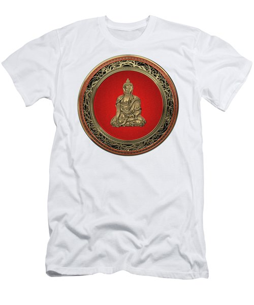 Treasure Trove - Gold Buddha On White Leather Men's T-Shirt (Athletic Fit)