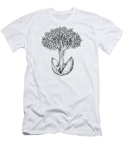 Men's T-Shirt (Athletic Fit) featuring the drawing Tree From Seed by Aaron Spong