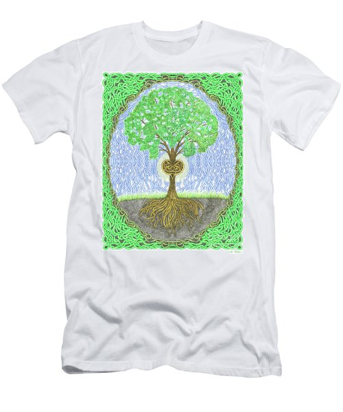 Tree With Heart And Sun Men's T-Shirt (Slim Fit) by Lise Winne