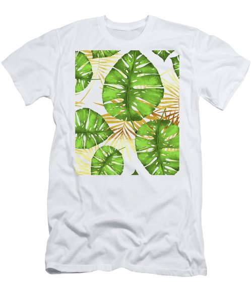 Tropical Haze Green Monstera Leaves And Golden Palm Fronds Men's T-Shirt (Athletic Fit)