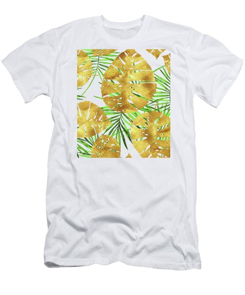 Tropical Haze II Gold Monstera Leaves And Green Palm Fronds Men's T-Shirt (Athletic Fit)