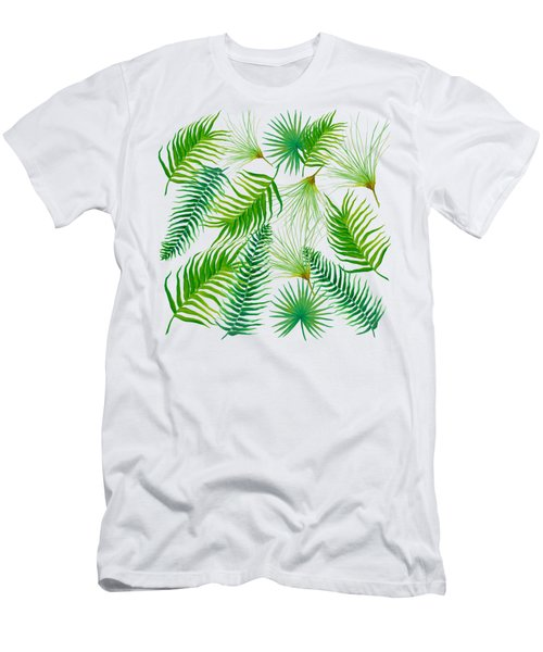 Tropical Leaves And Ferns Men's T-Shirt (Slim Fit) by Jan Matson