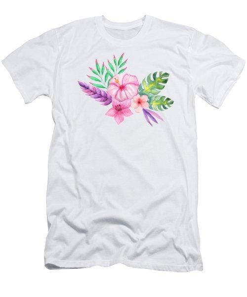 Tropical Watercolor Bouquet 1 Men's T-Shirt (Athletic Fit)
