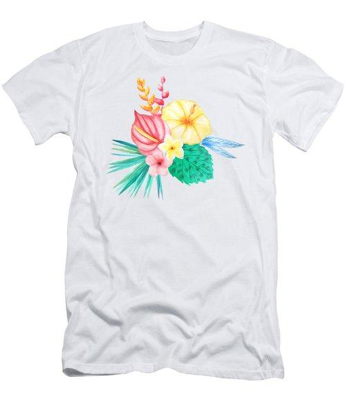 Tropical Watercolor Bouquet 2 Men's T-Shirt (Athletic Fit)