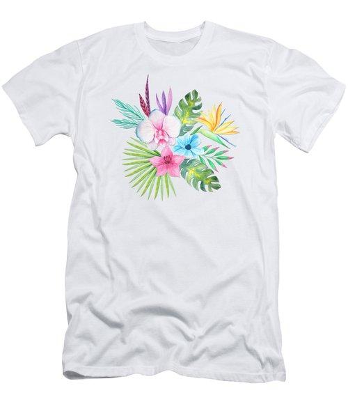 Tropical Watercolor Bouquet 3 Men's T-Shirt (Athletic Fit)