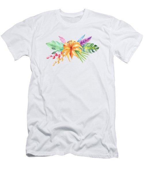 Tropical Watercolor Bouquet 4 Men's T-Shirt (Athletic Fit)