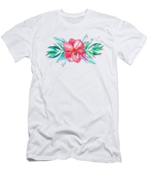 Tropical Watercolor Bouquet 5 Men's T-Shirt (Athletic Fit)