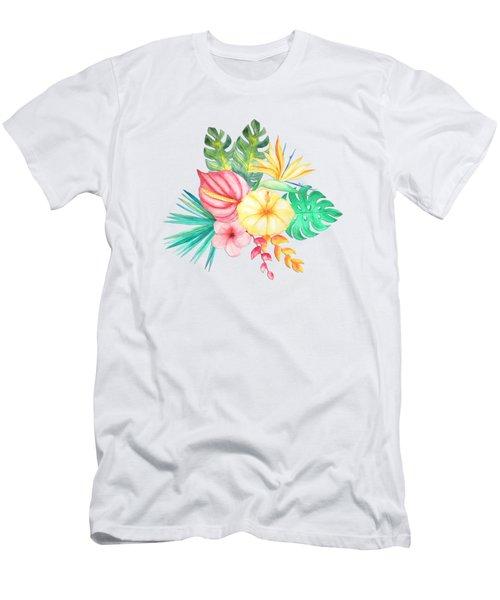 Tropical Watercolor Bouquet 6 Men's T-Shirt (Athletic Fit)