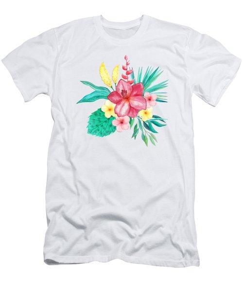 Tropical Watercolor Bouquet 9 Men's T-Shirt (Athletic Fit)