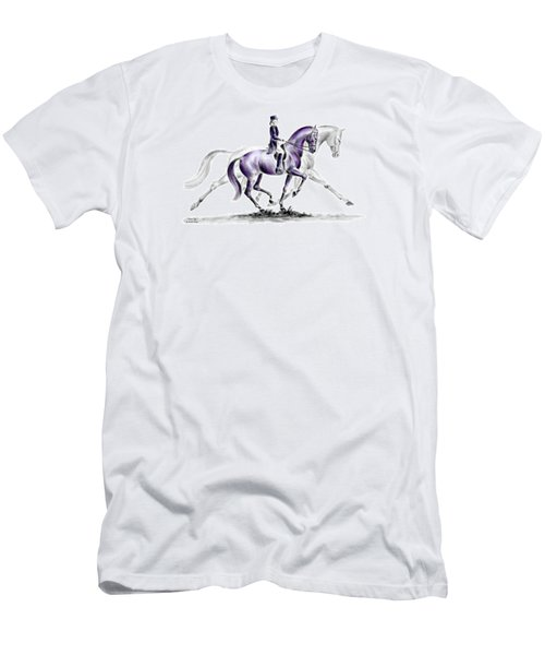 Men's T-Shirt (Slim Fit) featuring the drawing Trot On - Dressage Horse Print Color Tinted by Kelli Swan