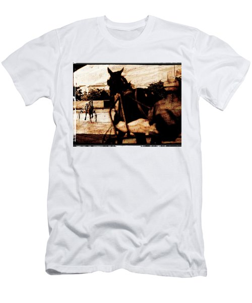 Men's T-Shirt (Slim Fit) featuring the photograph trotting 1 - Harness racing in a vintage post processing by Pedro Cardona