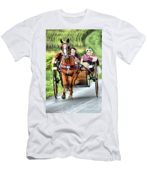 Men's T-Shirt (Slim Fit) featuring the photograph Trotting Along by Polly Peacock
