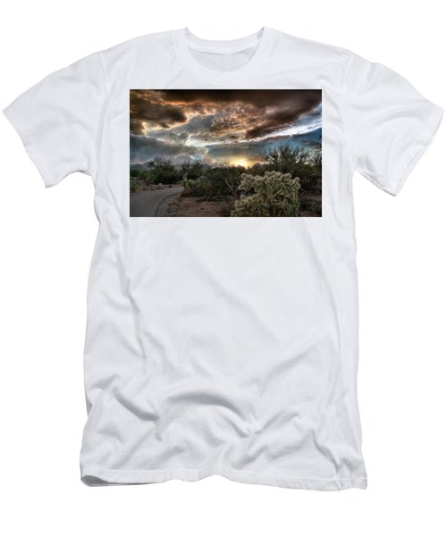 Men's T-Shirt (Slim Fit) featuring the photograph Tucson Mountain Sunset by Lynn Geoffroy