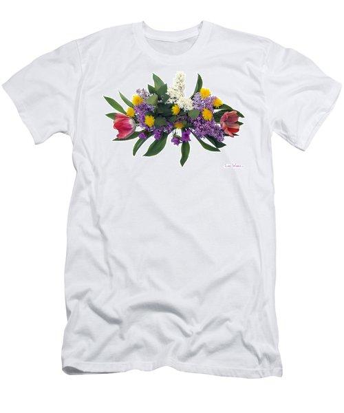 Men's T-Shirt (Slim Fit) featuring the digital art Tulip Lilac And Dandelion Bouquet by Lise Winne