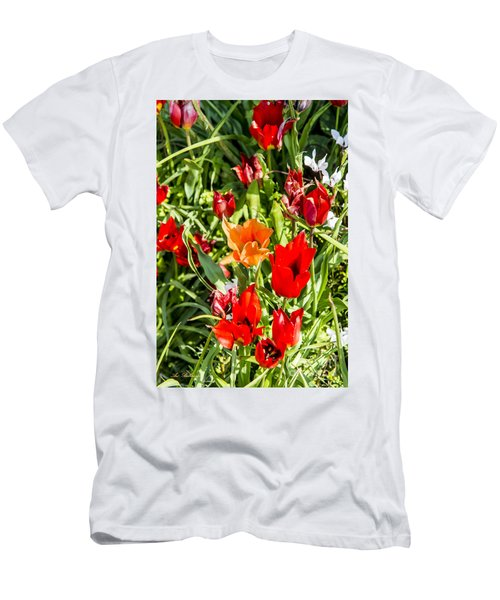 Men's T-Shirt (Slim Fit) featuring the photograph Tulip - The Orange One 03 by Arik Baltinester