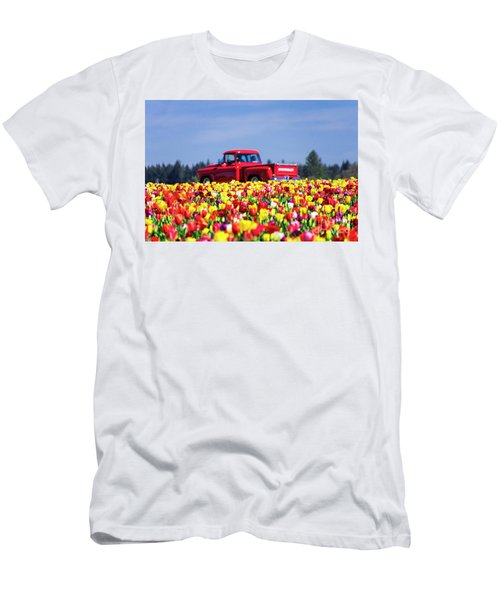 Tulips And Red Chevy Truck Men's T-Shirt (Athletic Fit)