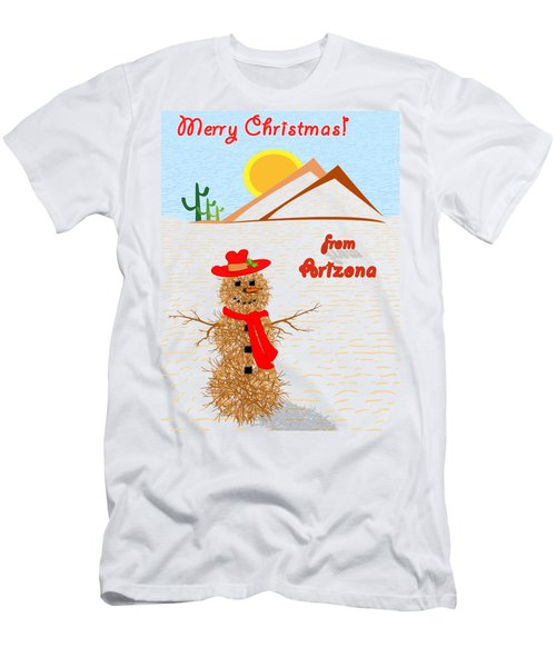Tumbleweed Snowman Christmas Card Men's T-Shirt (Slim Fit) by Methune Hively