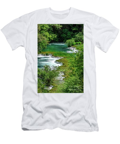Turqouise Waterfalls Of Skradinski Buk At Krka National Park In Croatia Men's T-Shirt (Athletic Fit)
