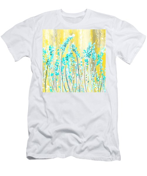 Turquoise And Yellow Men's T-Shirt (Athletic Fit)