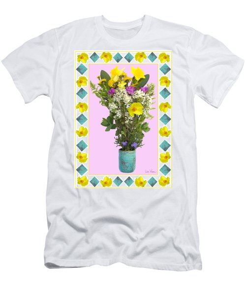 Turquoise Vase With Spring Bouquet Men's T-Shirt (Slim Fit) by Lise Winne