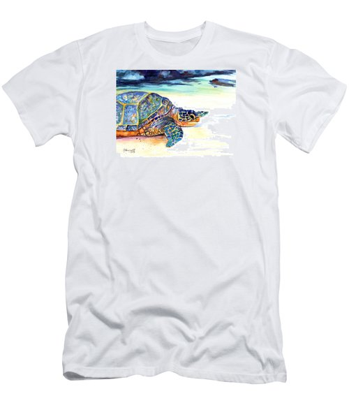 Men's T-Shirt (Slim Fit) featuring the painting Turtle At Poipu Beach 2 by Marionette Taboniar