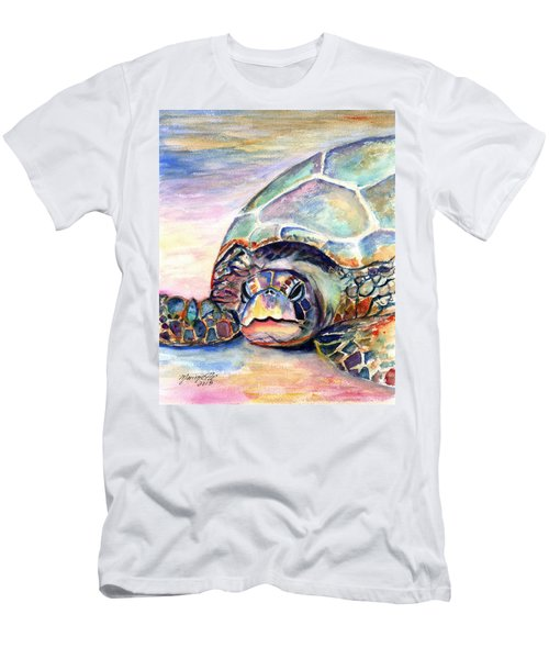 Turtle At Poipu Beach Men's T-Shirt (Athletic Fit)