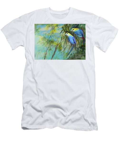 Men's T-Shirt (Athletic Fit) featuring the painting Two Pale-faced Rosellas by Ryn Shell