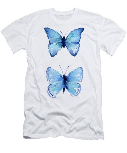 Two Blue Butterflies Watercolor Men's T-Shirt (Athletic Fit)