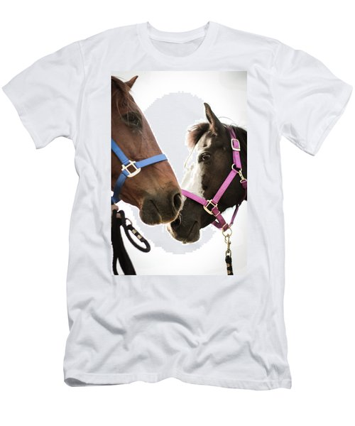 Two Horses Nose To Nose In Color Men's T-Shirt (Athletic Fit)