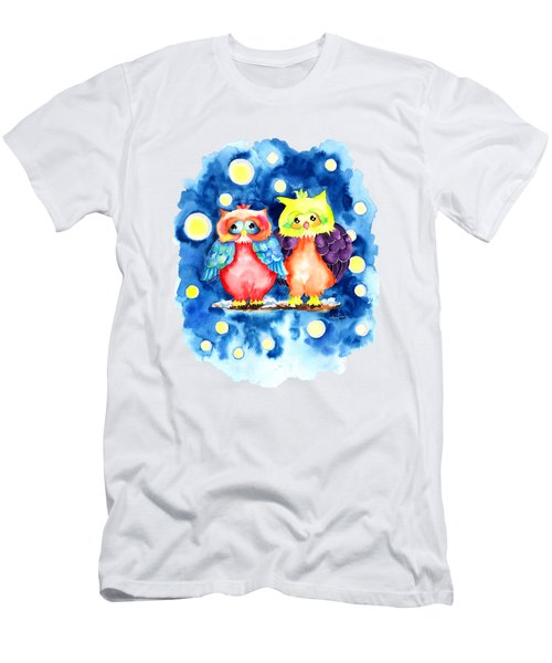 Two Owls And A Starry Night Men's T-Shirt (Athletic Fit)