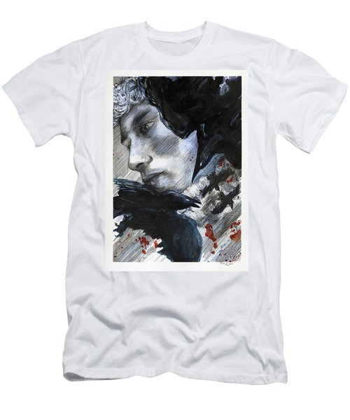 Men's T-Shirt (Athletic Fit) featuring the painting Two Ravens Bringing Blood To The Skies  by Rene Capone