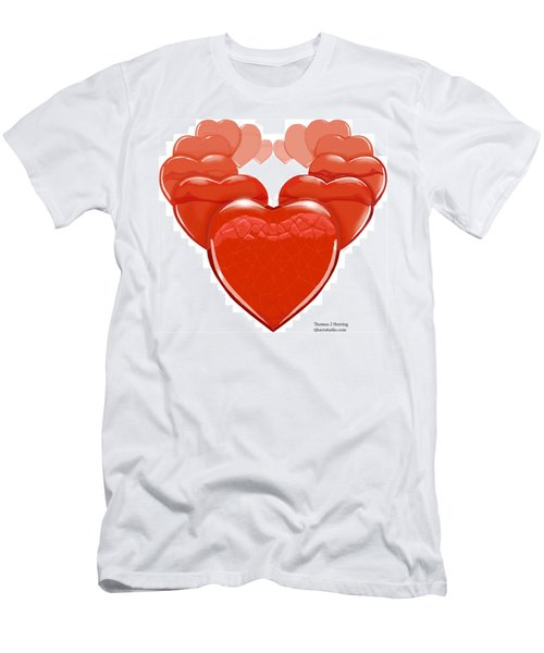 Men's T-Shirt (Athletic Fit) featuring the digital art Two Hearts Become One by Thomas J Herring