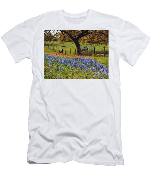 Men's T-Shirt (Slim Fit) featuring the painting Tx Tradition, Bluebonnets by Lisa Spencer