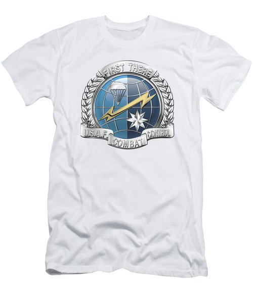 U. S.  Air Force Combat Control Teams - Combat Controller C C T Badge Over White Leather Men's T-Shirt (Slim Fit) by Serge Averbukh