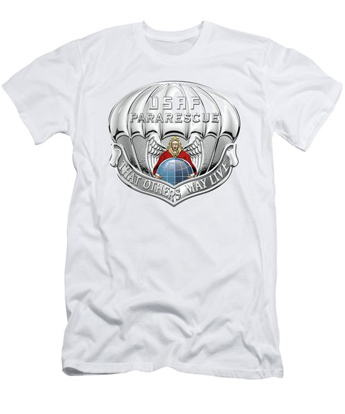 U. S.  Air Force Pararescuemen - P J Badge Over Blue Velvet Men's T-Shirt (Slim Fit) by Serge Averbukh