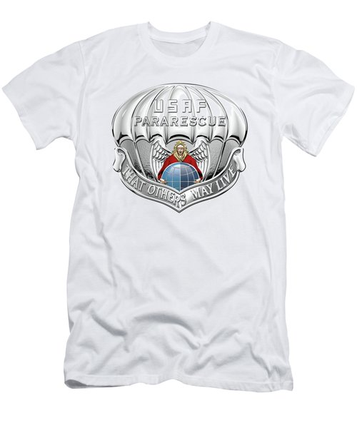 U. S.  Air Force Pararescuemen - P J Badge Over White Leather Men's T-Shirt (Slim Fit) by Serge Averbukh