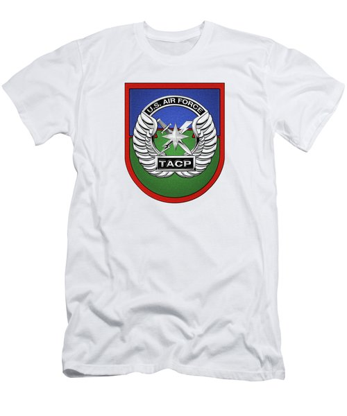 Men's T-Shirt (Slim Fit) featuring the digital art U. S.  Air Force Tactical Air Control Party -  T A C P  Beret Flash With Crest Over White Leather by Serge Averbukh