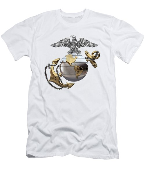 U S M C Eagle Globe And Anchor - C O And Warrant Officer E G A Over White Leather Men's T-Shirt (Athletic Fit)
