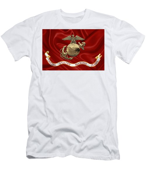 U. S.  Marine Corps - N C O Eagle Globe And Anchor Over Corps Flag Men's T-Shirt (Athletic Fit)