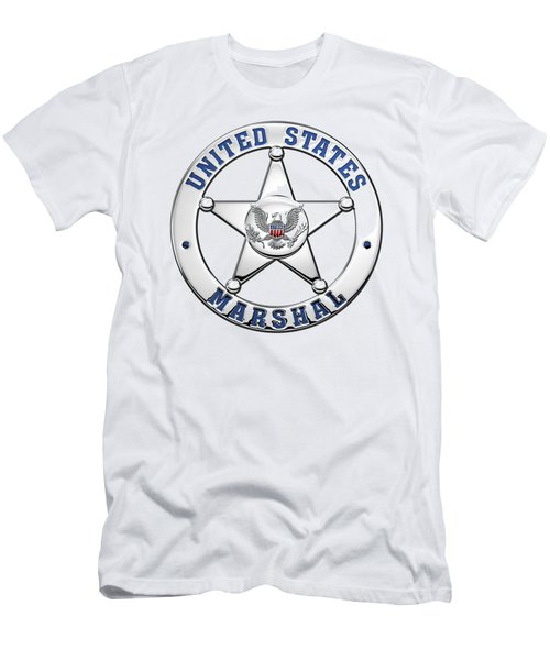 Men's T-Shirt (Slim Fit) featuring the digital art U. S. Marshals Service  -  U S M S  Badge Over White Leather by Serge Averbukh